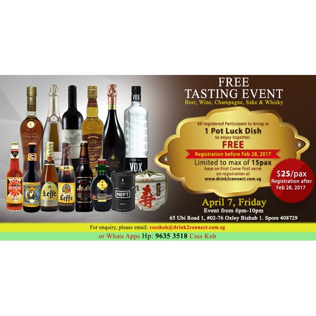 Free Flow Tasting Event of Beers, Wines,Moscato,Prosecco,Sake,Whisky