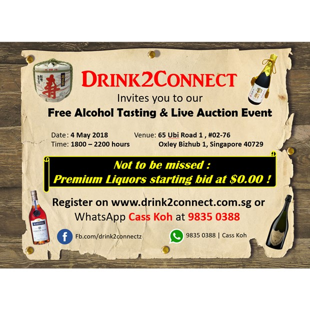 May 4 Free Alcohol Tasting & Networking Event (Beer/Wine/Moscato/Champagne/Japanese Sake/Whisky etc