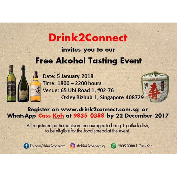 Jan 5 Free Alcohol Tasting & Networking Event (Beer/Wine/Moscato/Champagne/Japanese Sake/Whisky etc